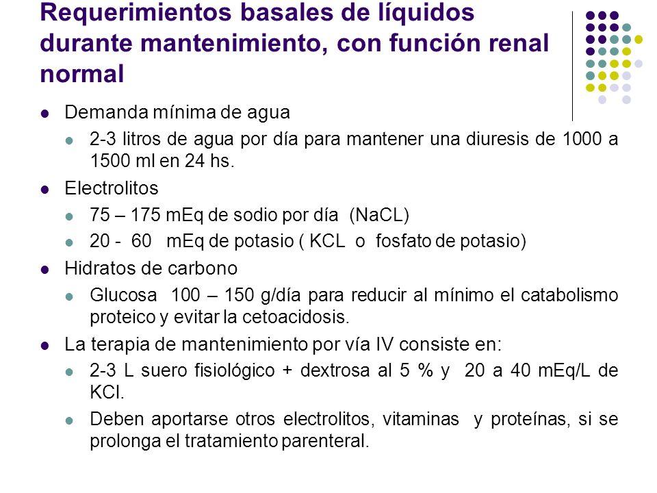 Requerimientos basales de líquidos durante mantenimiento, con función renal normal