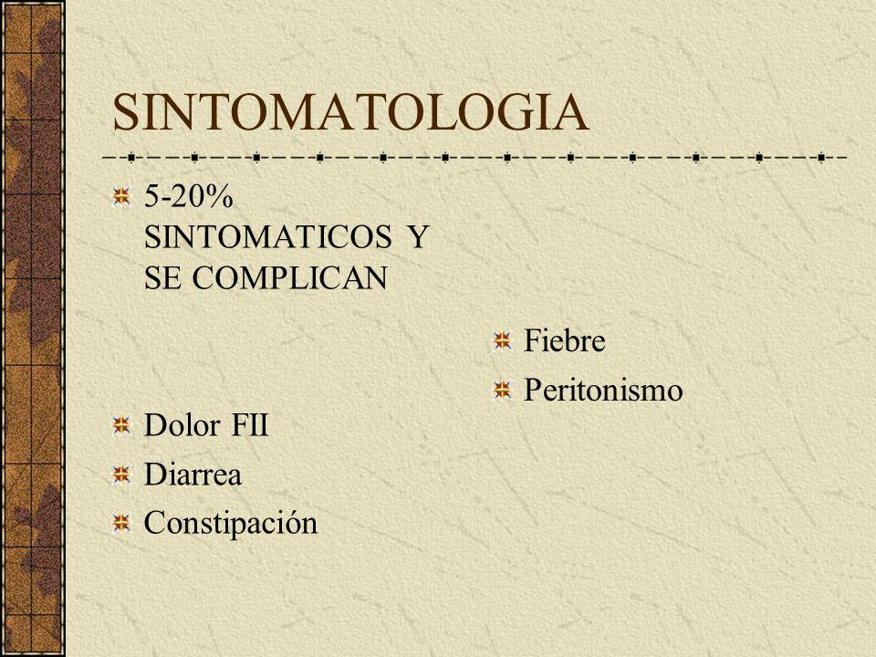 SINTOMATOLOGIA 5-20% SINTOMATICOS Y SE COMPLICAN Dolor FII Diarrea
