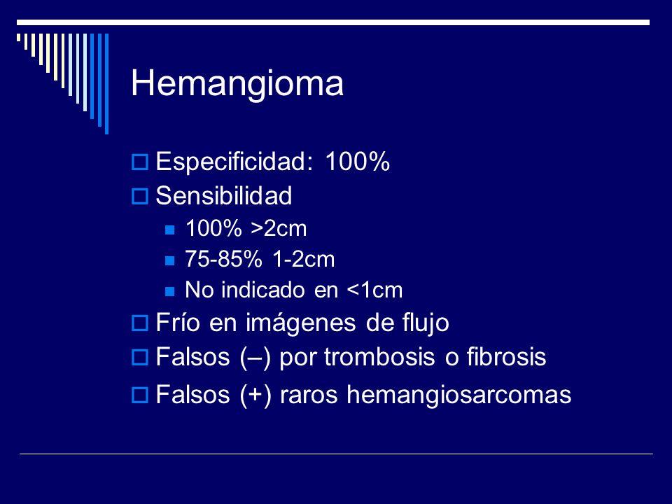 Hemangioma Especificidad: 100% Sensibilidad Frío en imágenes de flujo