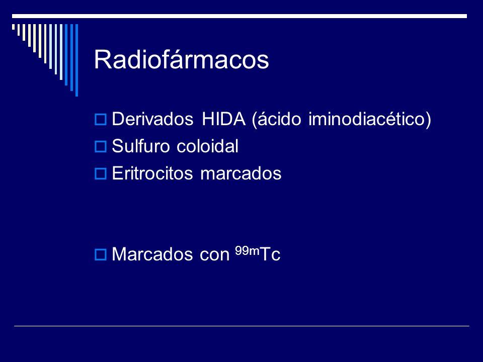 Radiofármacos Derivados HIDA (ácido iminodiacético) Sulfuro coloidal
