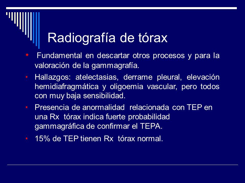 Radiografía de tórax Fundamental en descartar otros procesos y para la valoración de la gammagrafía.