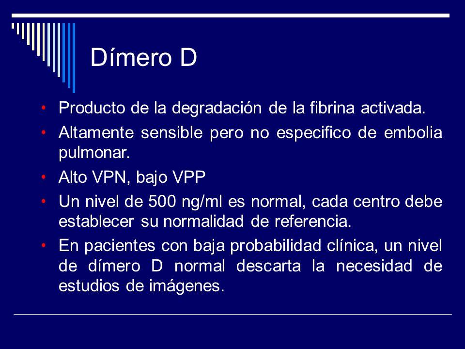 Dímero D Producto de la degradación de la fibrina activada.