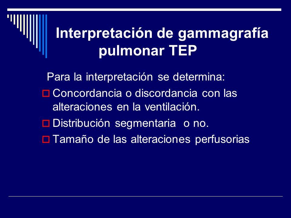 Interpretación de gammagrafía pulmonar TEP