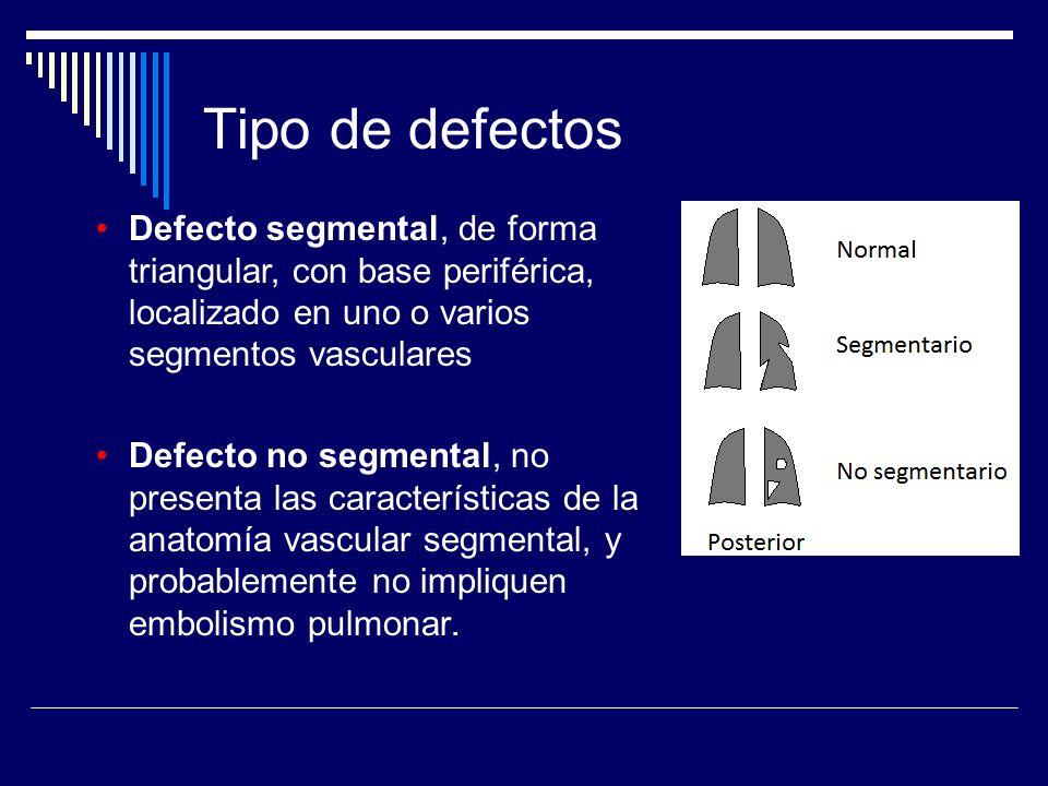 Tipo de defectos Defecto segmental, de forma triangular, con base periférica, localizado en uno o varios segmentos vasculares.