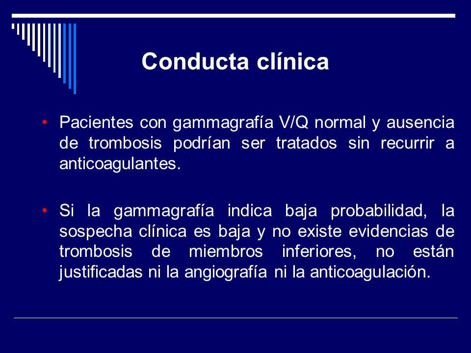 Conducta clínica Pacientes con gammagrafía V/Q normal y ausencia de trombosis podrían ser tratados sin recurrir a anticoagulantes.
