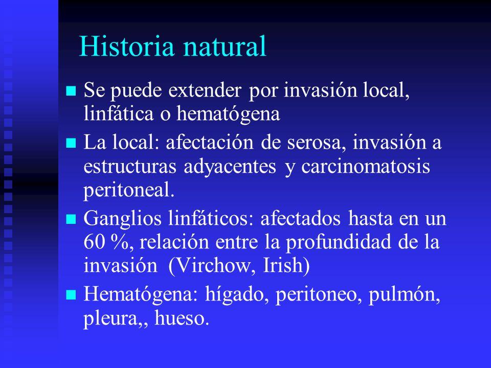 Historia natural Se puede extender por invasión local, linfática o hematógena.