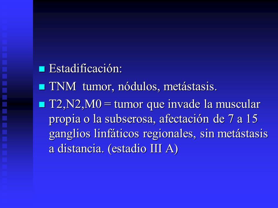 Estadificación: TNM tumor, nódulos, metástasis.