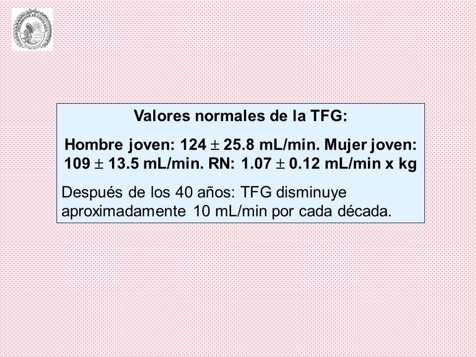 Valores normales de la TFG:
