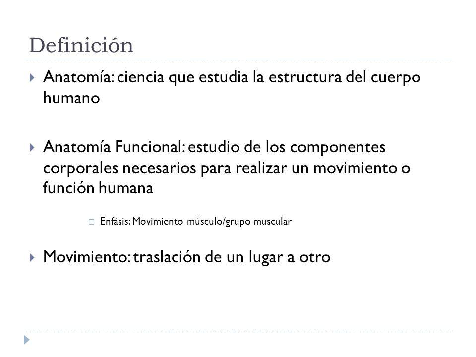 Definición Anatomía: ciencia que estudia la estructura del cuerpo humano.