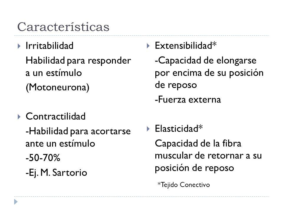 Características Irritabilidad Habilidad para responder a un estímulo