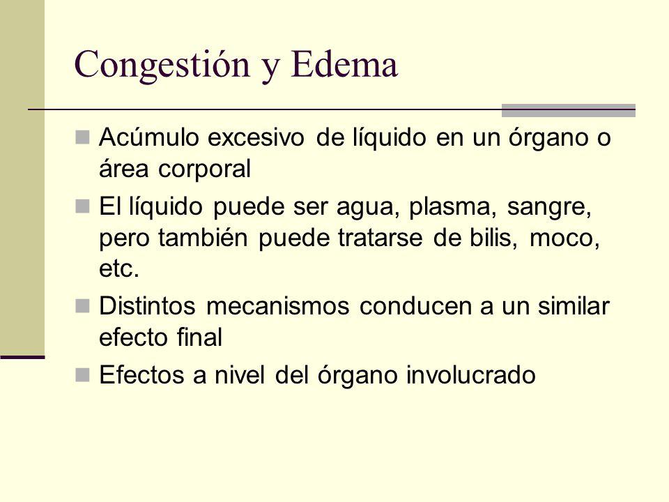 Congestión y Edema Acúmulo excesivo de líquido en un órgano o área corporal.