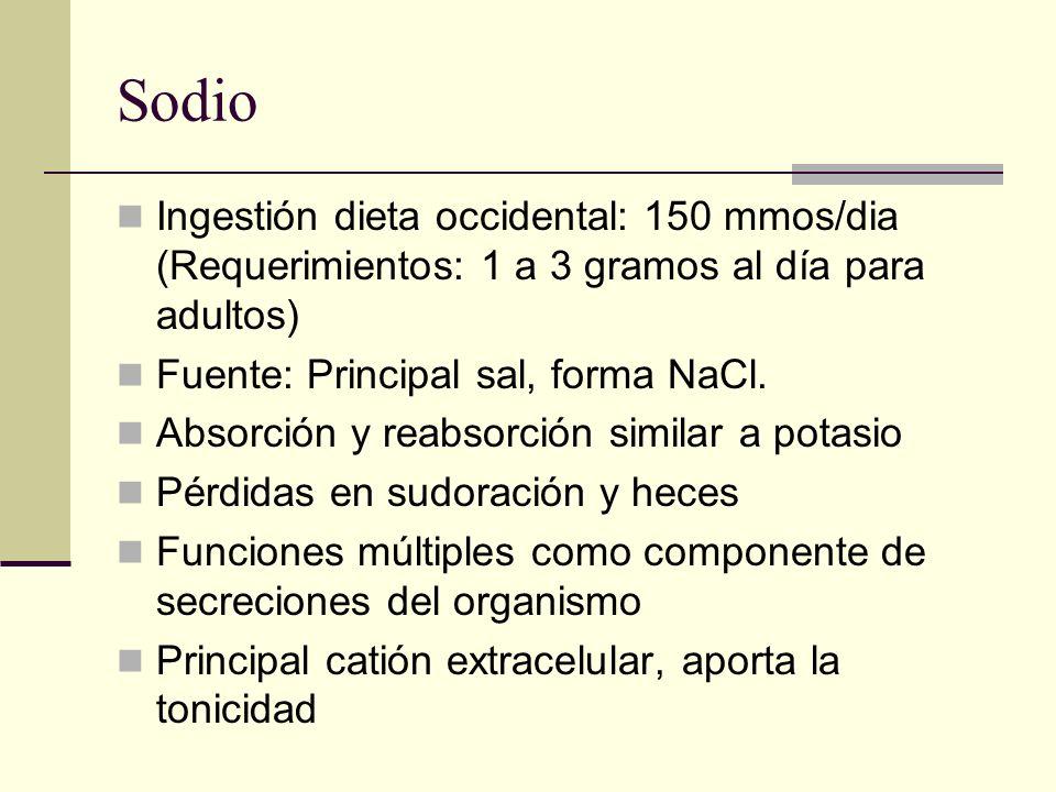 SodioIngestión dieta occidental: 150 mmos/dia (Requerimientos: 1 a 3 gramos al día para adultos) Fuente: Principal sal, forma NaCl.
