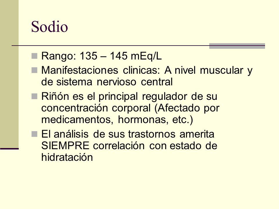 Sodio Rango: 135 – 145 mEq/L. Manifestaciones clinicas: A nivel muscular y de sistema nervioso central.