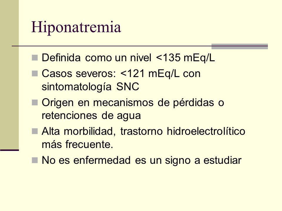 Hiponatremia Definida como un nivel <135 mEq/L