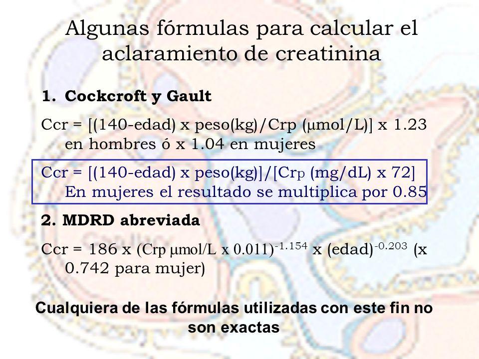 Cualquiera de las fórmulas utilizadas con este fin no son exactas