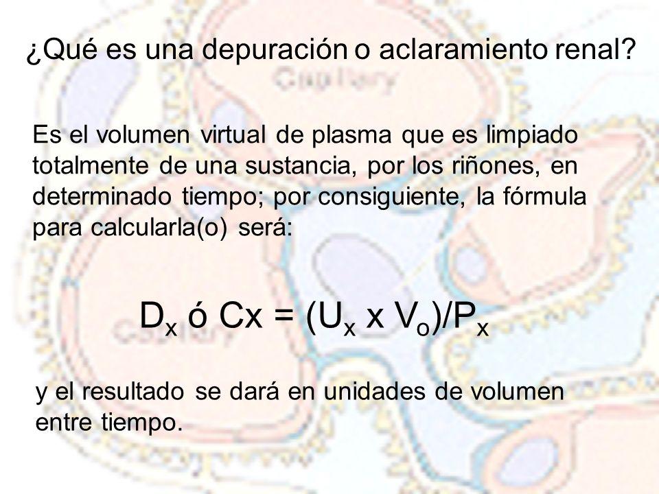 Dx ó Cx = (Ux x Vo)/Px ¿Qué es una depuración o aclaramiento renal