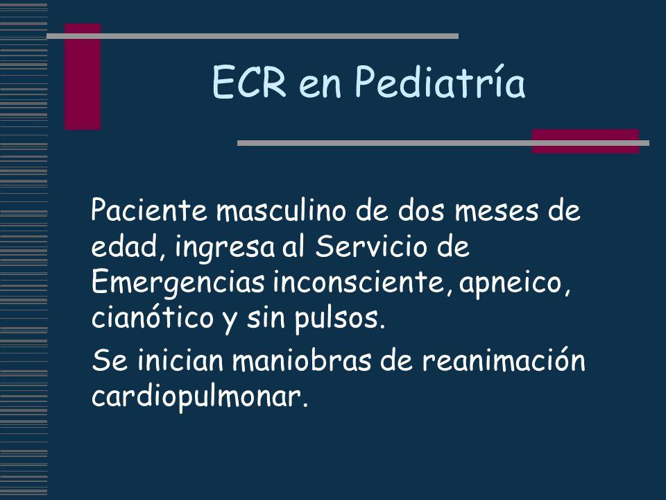 ECR en Pediatría Paciente masculino de dos meses de edad, ingresa al Servicio de Emergencias inconsciente, apneico, cianótico y sin pulsos.