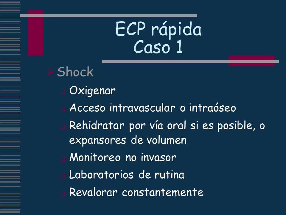 ECP rápida Caso 1 Shock Oxigenar Acceso intravascular o intraóseo