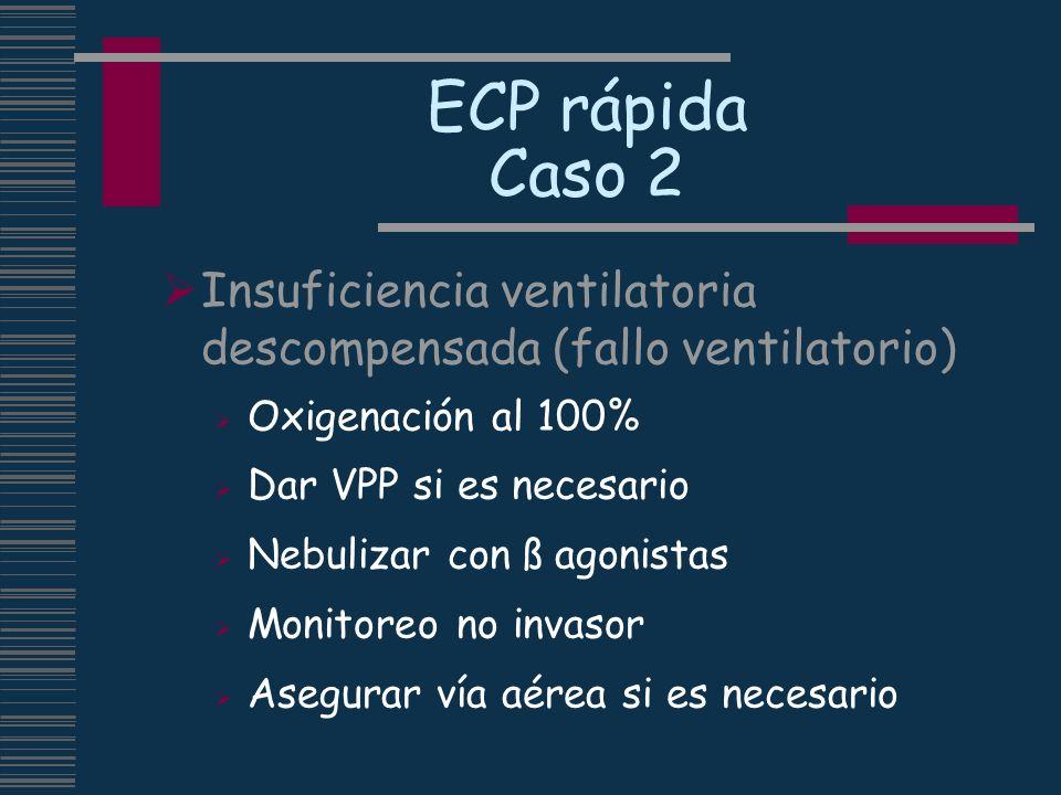 ECP rápida Caso 2Insuficiencia ventilatoria descompensada (fallo ventilatorio) Oxigenación al 100% Dar VPP si es necesario.
