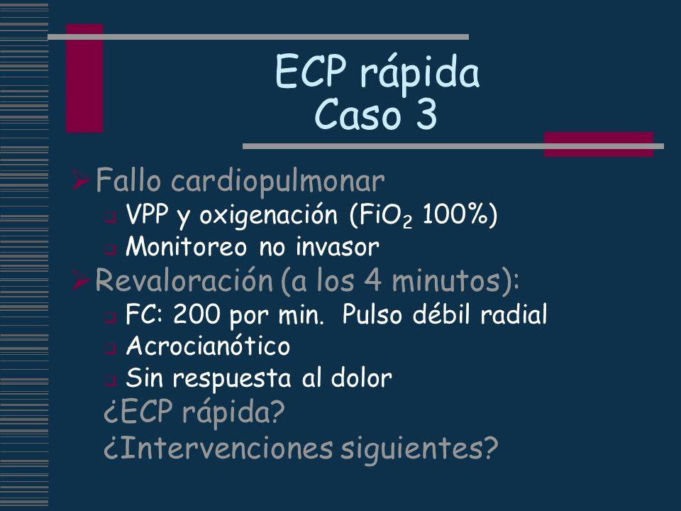 ECP rápida Caso 3 Fallo cardiopulmonar Revaloración (a los 4 minutos):