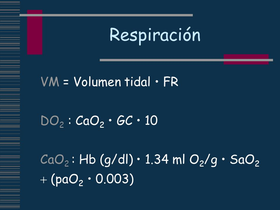 Respiración VM = Volumen tidal • FR DO2 : CaO2 • GC • 10