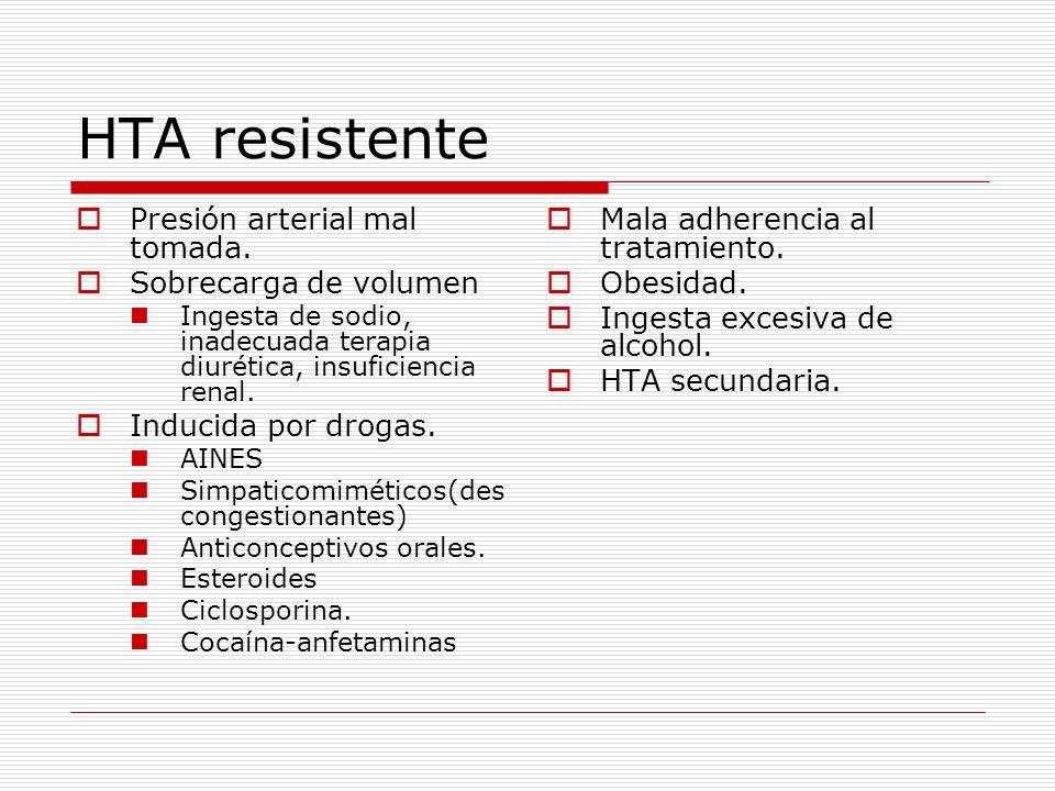 HTA resistente Presión arterial mal tomada. Sobrecarga de volumen