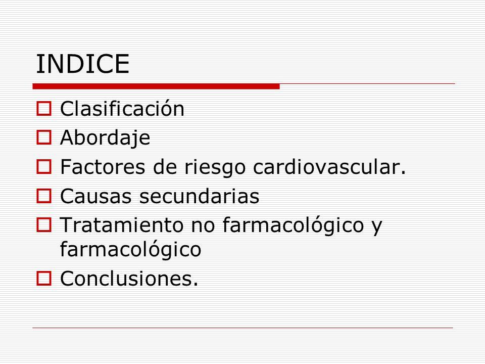 INDICE Clasificación Abordaje Factores de riesgo cardiovascular.