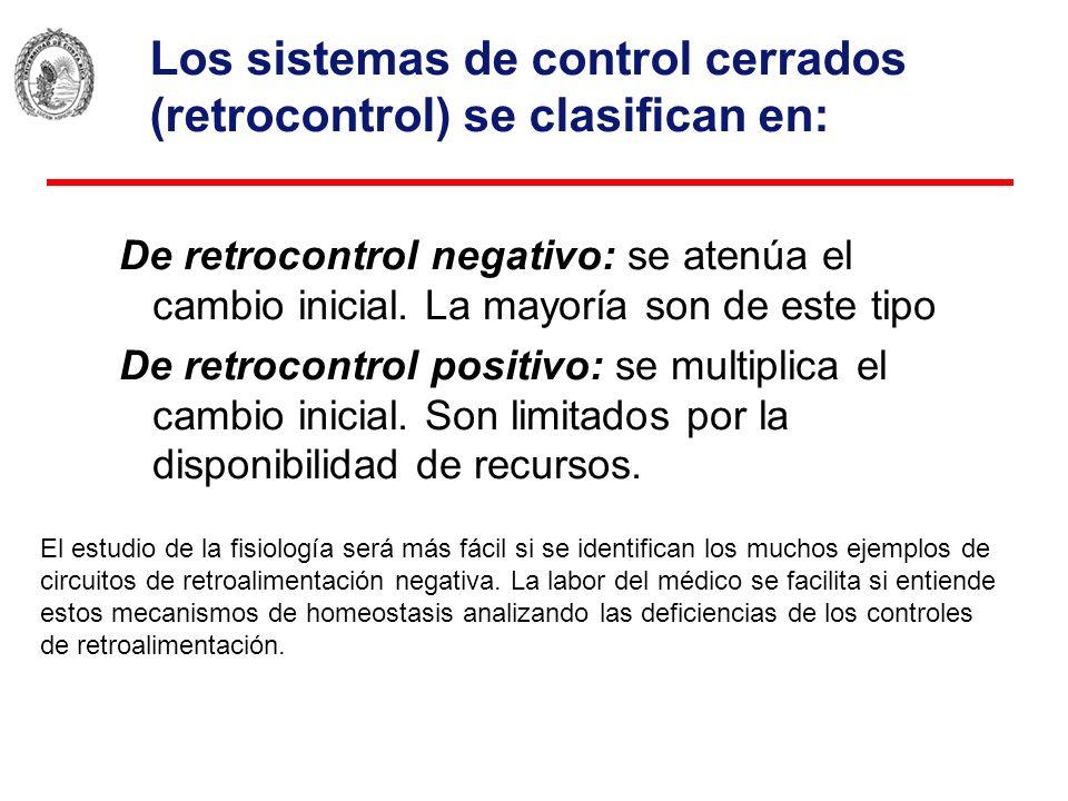Los sistemas de control cerrados (retrocontrol) se clasifican en: