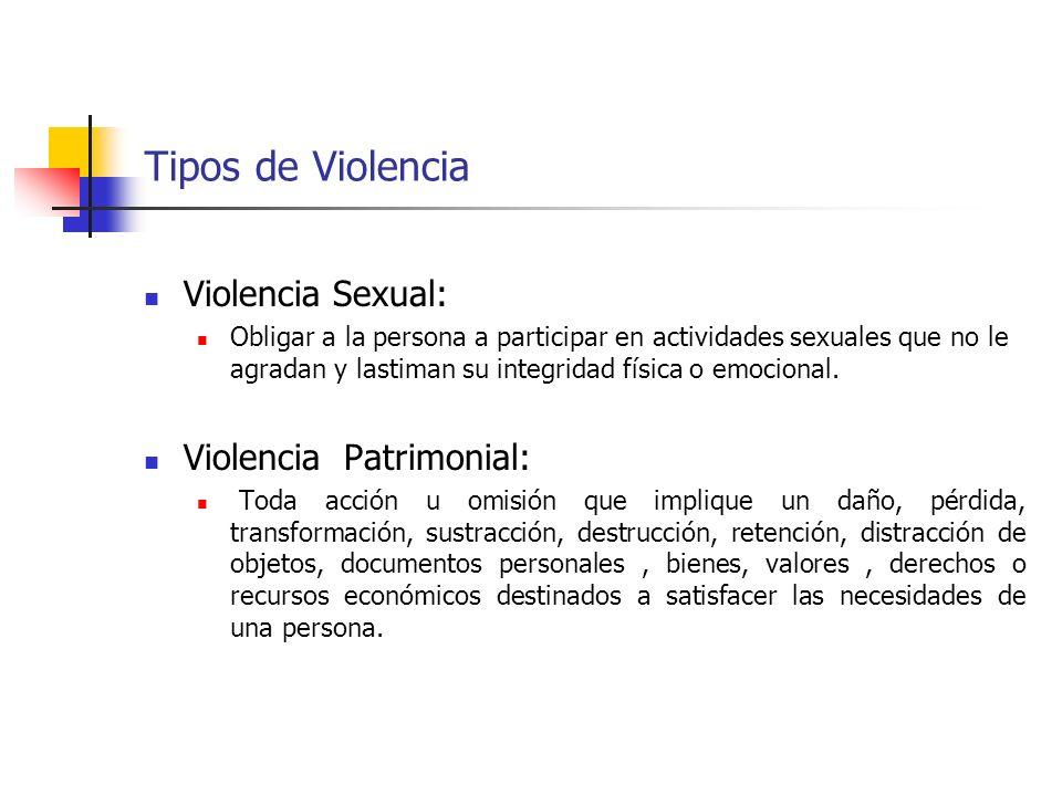 Tipos de Violencia Violencia Sexual: Violencia Patrimonial: