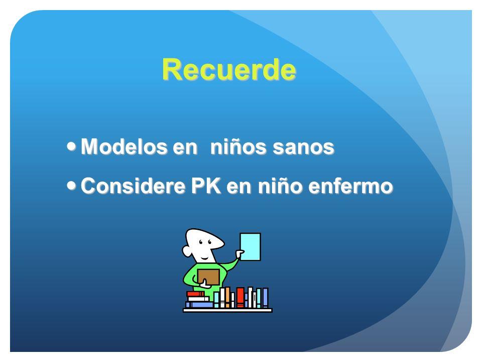 Recuerde Modelos en niños sanos Considere PK en niño enfermo