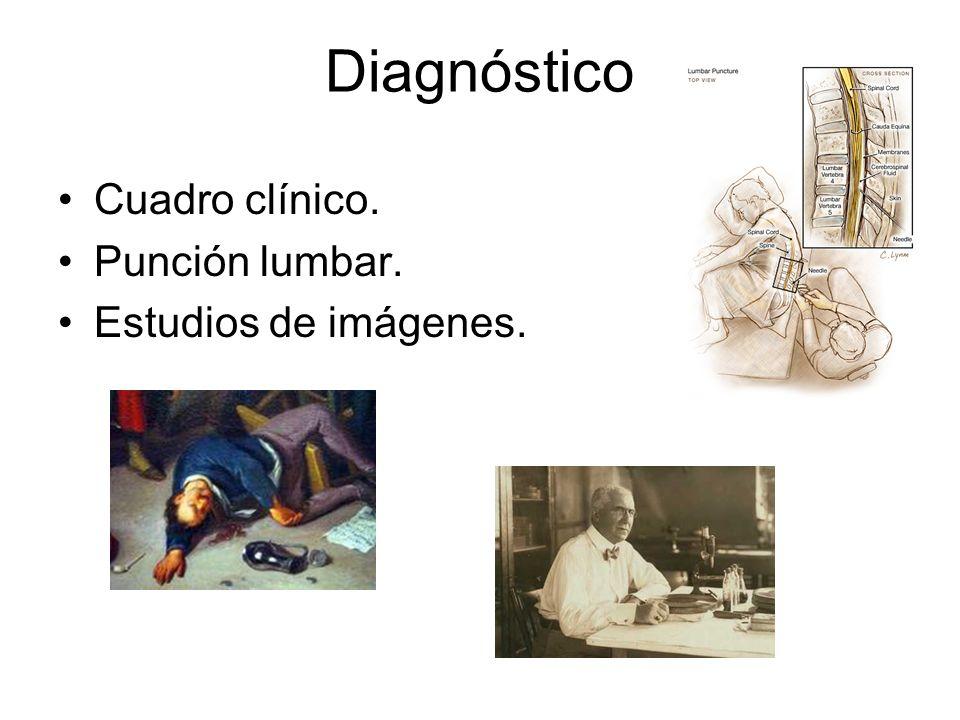 Diagnóstico Cuadro clínico. Punción lumbar. Estudios de imágenes.