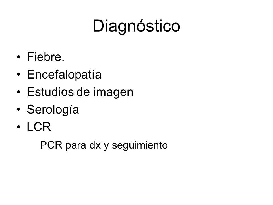 Diagnóstico Fiebre. Encefalopatía Estudios de imagen Serología LCR