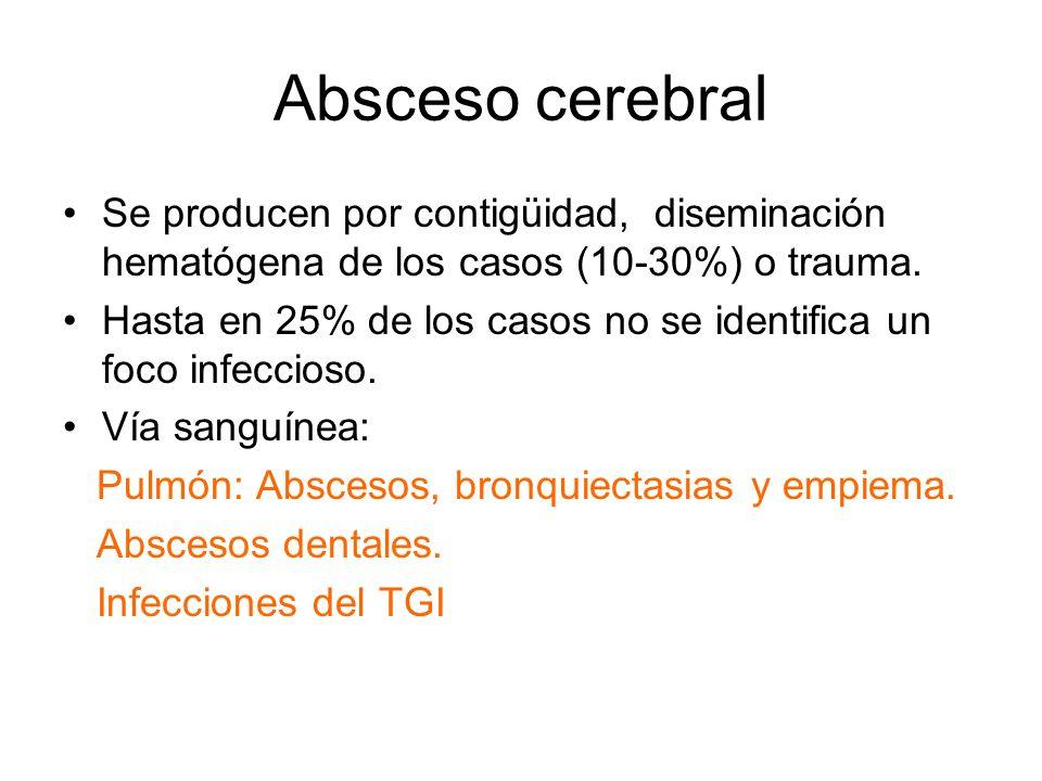 Absceso cerebral Se producen por contigüidad, diseminación hematógena de los casos (10-30%) o trauma.