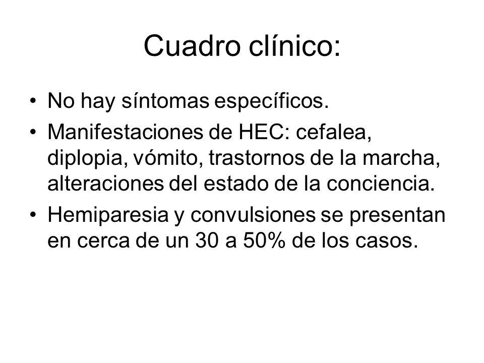 Cuadro clínico: No hay síntomas específicos.