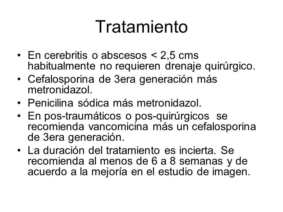 Tratamiento En cerebritis o abscesos < 2,5 cms habitualmente no requieren drenaje quirúrgico. Cefalosporina de 3era generación más metronidazol.