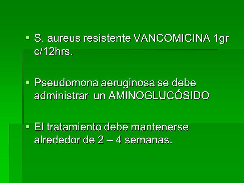 S. aureus resistente VANCOMICINA 1gr c/12hrs.