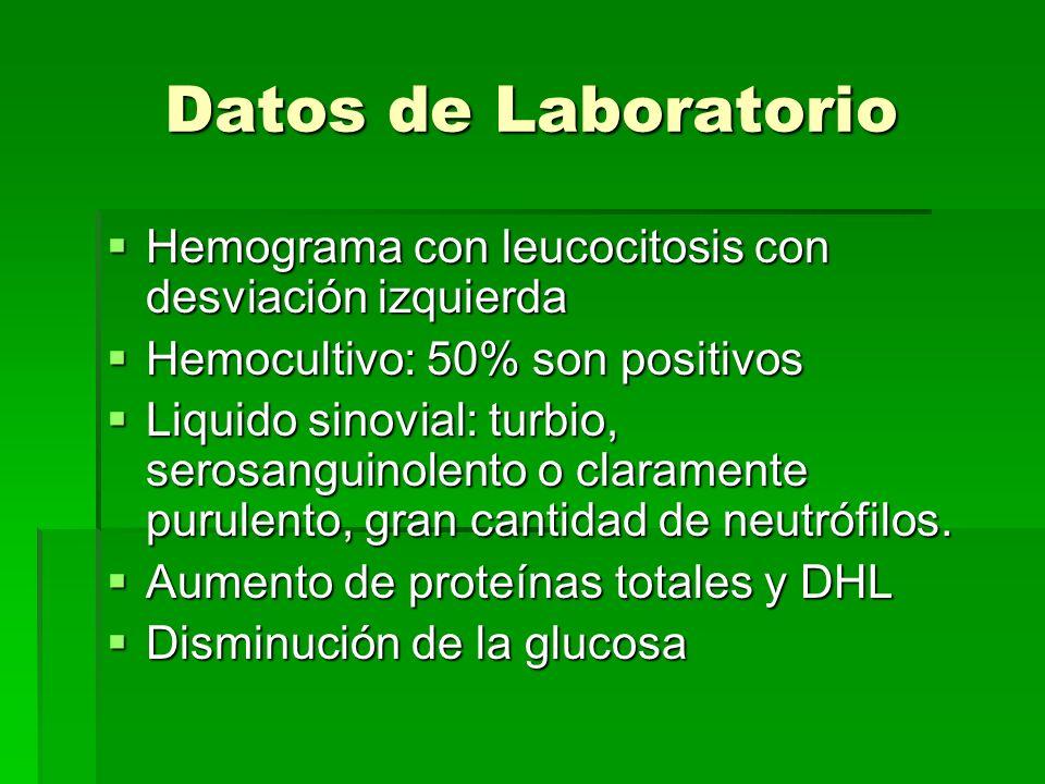 Datos de Laboratorio Hemograma con leucocitosis con desviación izquierda. Hemocultivo: 50% son positivos.