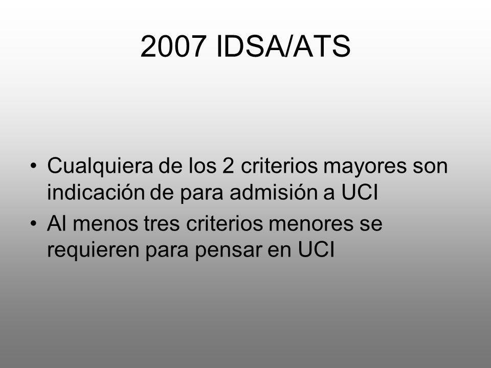 2007 IDSA/ATSCualquiera de los 2 criterios mayores son indicación de para admisión a UCI.