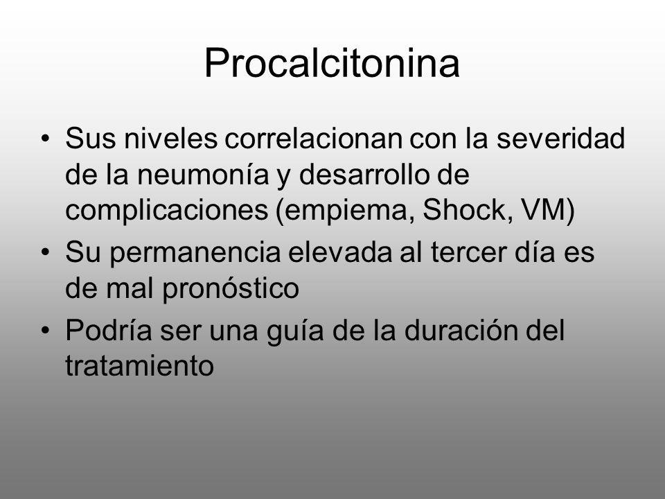 Procalcitonina Sus niveles correlacionan con la severidad de la neumonía y desarrollo de complicaciones (empiema, Shock, VM)