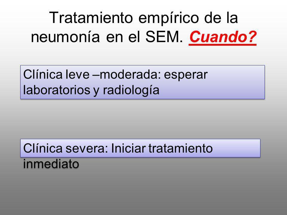 Tratamiento empírico de la neumonía en el SEM. Cuando
