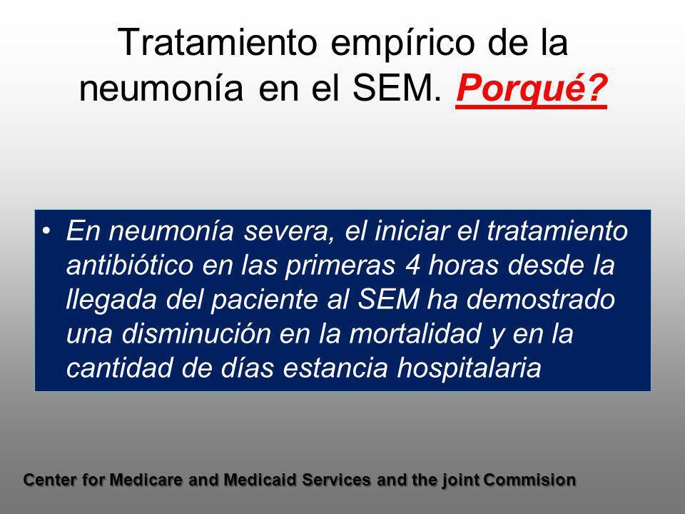 Tratamiento empírico de la neumonía en el SEM. Porqué