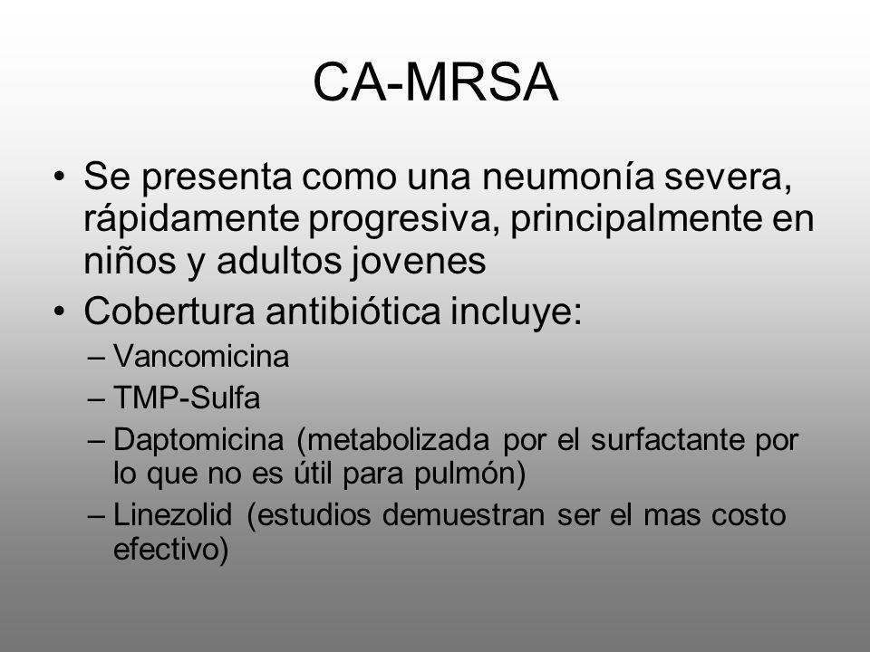CA-MRSASe presenta como una neumonía severa, rápidamente progresiva, principalmente en niños y adultos jovenes.