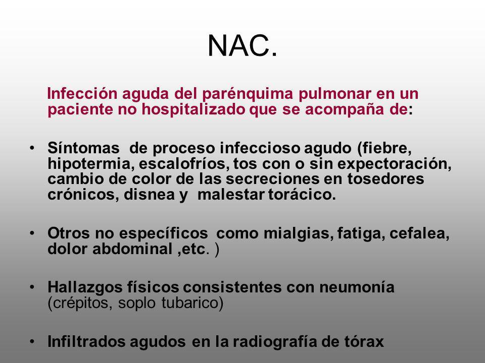 NAC. Infección aguda del parénquima pulmonar en un paciente no hospitalizado que se acompaña de: