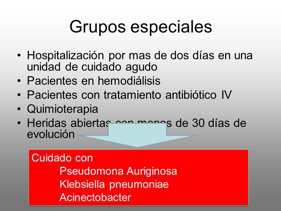 Grupos especialesHospitalización por mas de dos días en una unidad de cuidado agudo. Pacientes en hemodiálisis.