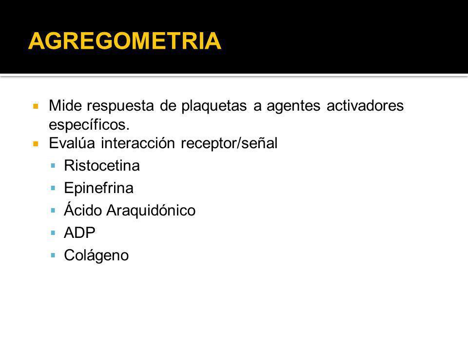 AGREGOMETRIA Mide respuesta de plaquetas a agentes activadores específicos. Evalúa interacción receptor/señal.