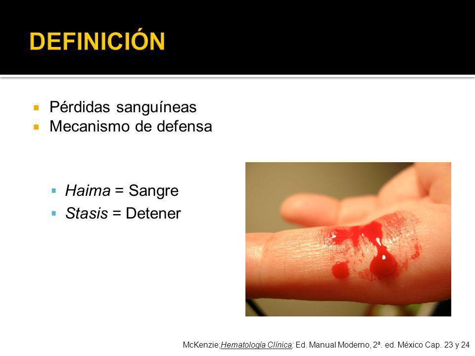DEFINICIÓN Pérdidas sanguíneas Mecanismo de defensa Haima = Sangre