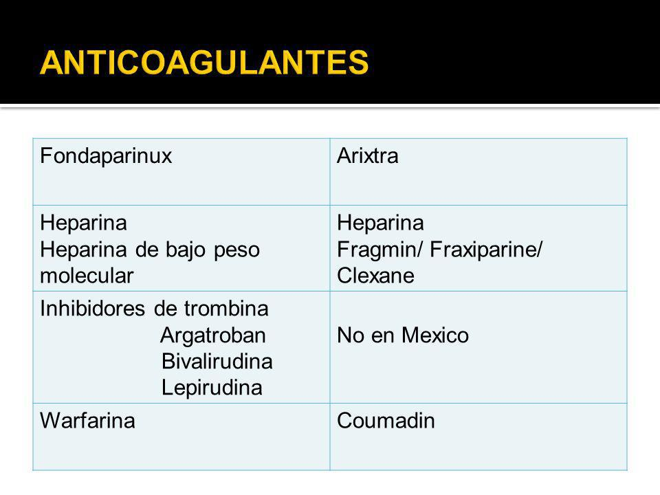 ANTICOAGULANTES Fondaparinux Arixtra Heparina