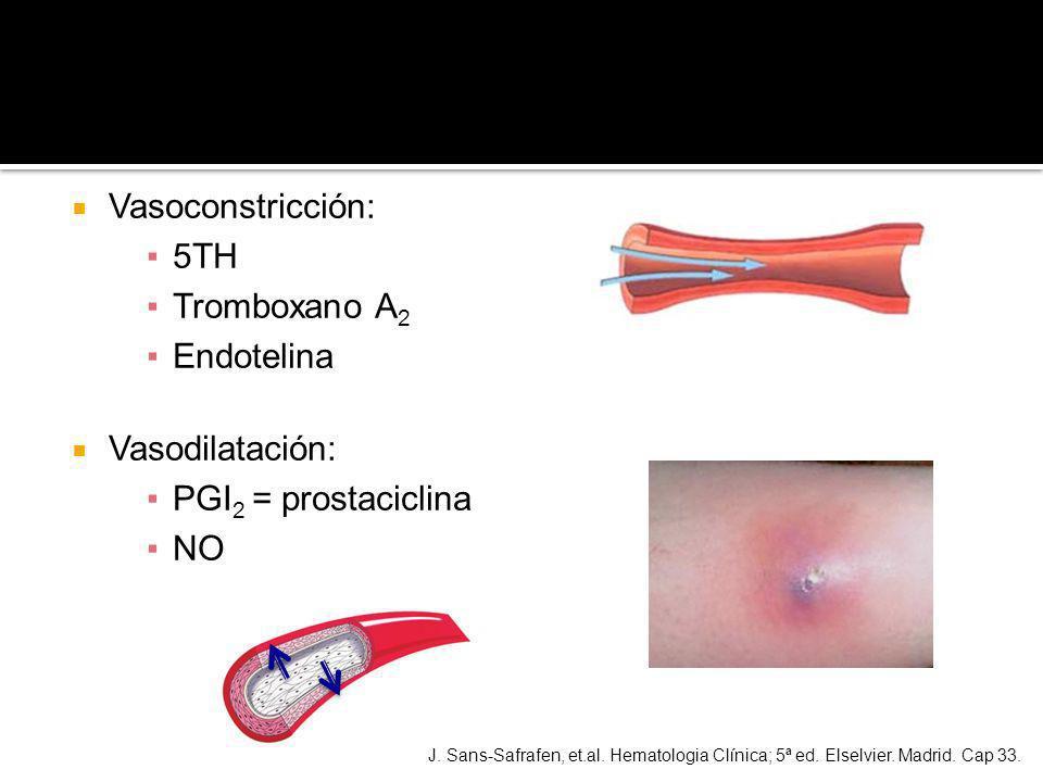 Vasoconstricción: 5TH Tromboxano A2 Endotelina Vasodilatación: