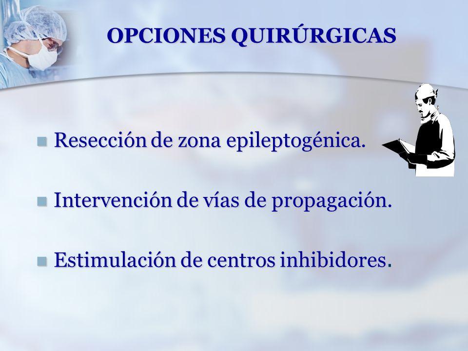OPCIONES QUIRÚRGICAS Resección de zona epileptogénica.