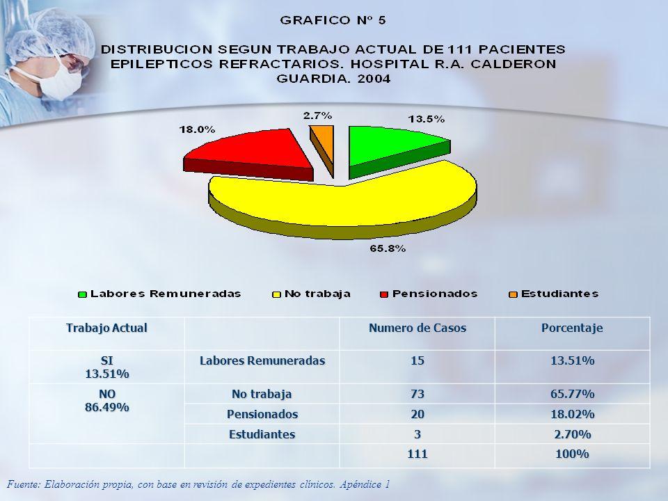 Trabajo Actual Numero de Casos. Porcentaje. SI. 13.51% Labores Remuneradas. 15. NO. 86.49% No trabaja.